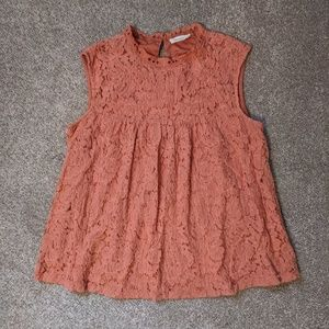 Sophie Rue apricot lace sleeveless blouse L